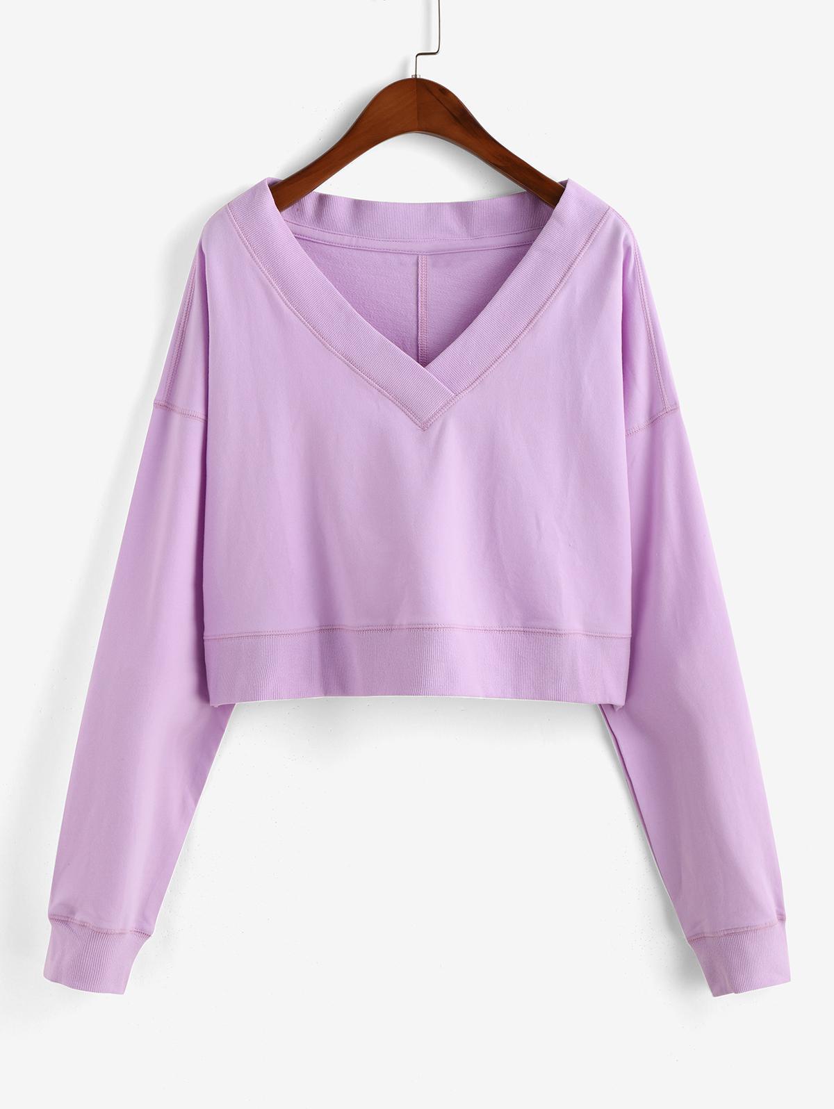 V Neck Drop Shoulder Crop Sweatshirt фото