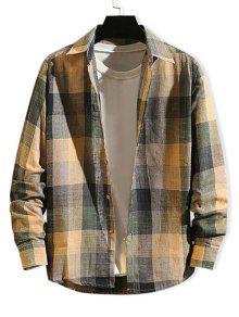 متقلب طباعة كم طويل زر القميص سليم صالح - متعددة-b L