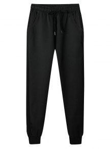 لون الصلبة الرباط عارضة الملابس الداخلية عداء ببطء - أسود M
