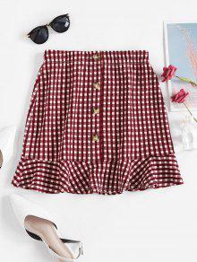 Plaid Flounced Hem Buttoned Mini Skirt