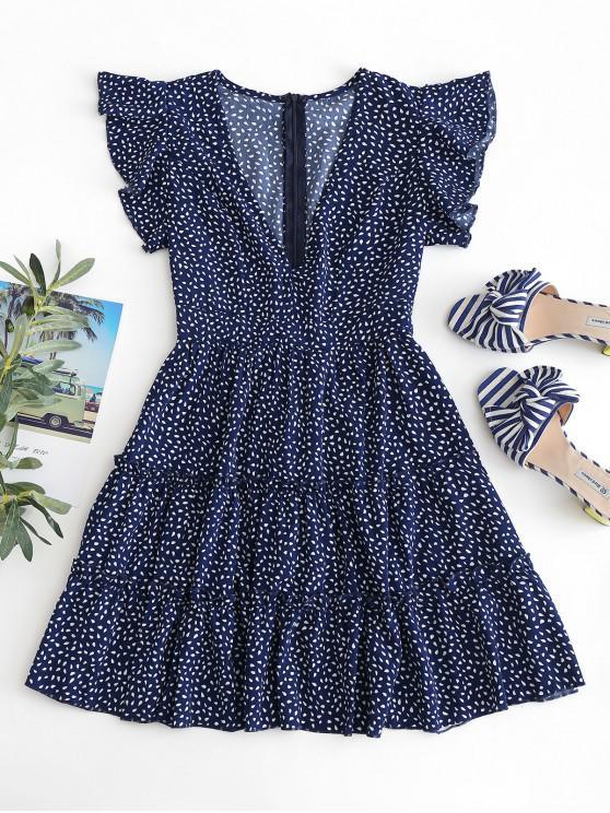 unique Raindrop Print Ruffles Mini Dress - DARK SLATE BLUE L
