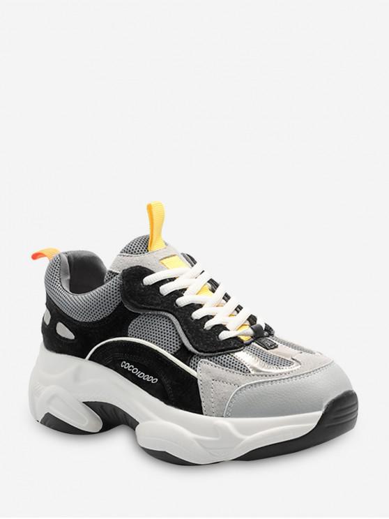 สีปิดกั้นการระบายอากาศ Lace Up พ่อรองเท้าผ้าใบ - สีดำ EU 36