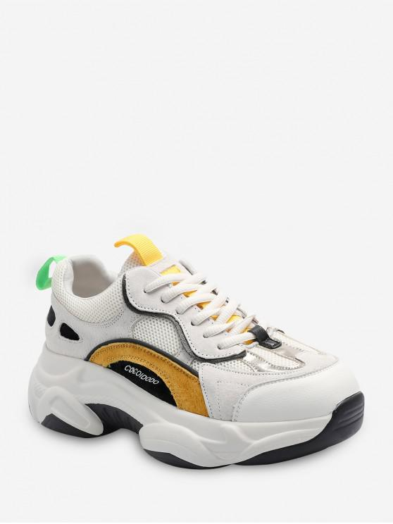lady Color-blocking Breathable Lace Up Dad Sneakers - BEE YELLOW EU 36