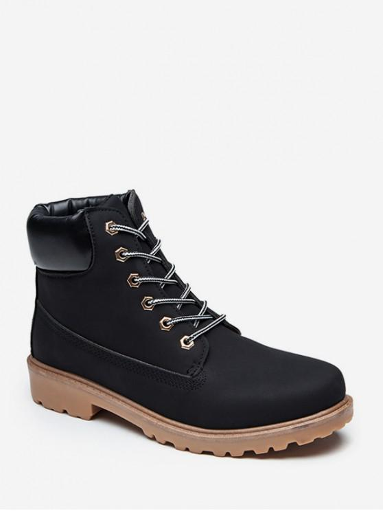 trendy PU Leather Lace Up Brushed Cargo Boots - BLACK EU 38