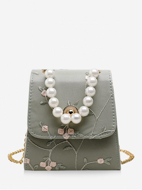unique Faux Pearl Flower Embroidery Crossbody Bag - DARK SEA GREEN