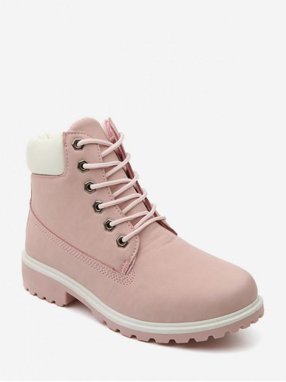 PU皮系帶拉絲貨靴 - 粉 歐盟39