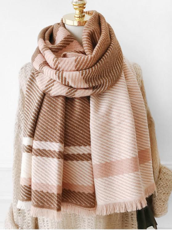 buy Plaid Design Tassel Long Scarf - CAMEL BROWN