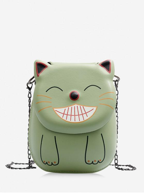 best Smile Cat Pattern Chain Crossbody Bag - HAZEL GREEN