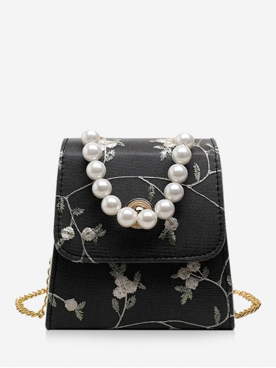 latest Faux Pearl Flower Embroidery Crossbody Bag - BLACK
