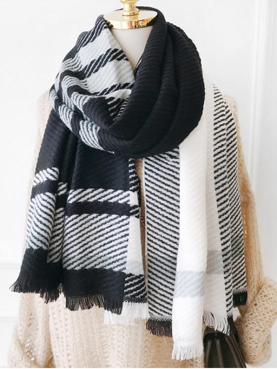 sale Plaid Design Tassel Long Scarf - BLACK