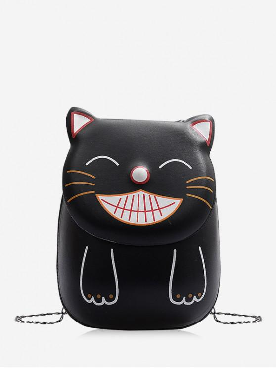 outfit Smile Cat Pattern Chain Crossbody Bag - BLACK