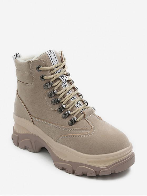 英式平台矮胖跟短靴 - 米色 歐盟38