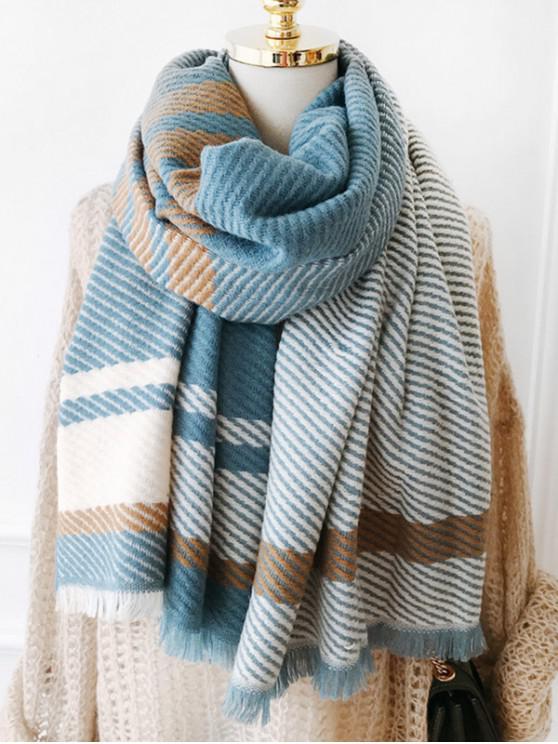 Echarpe Longue à Carreaux Design à Frange - Bleu-gris