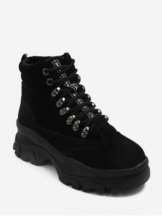 womens British Style Platform Chunky Heel Short Boots - BLACK EU 36