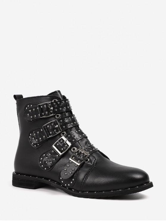 ladies Rivet Buckle Studded Motorcycle Boots - BLACK EU 37