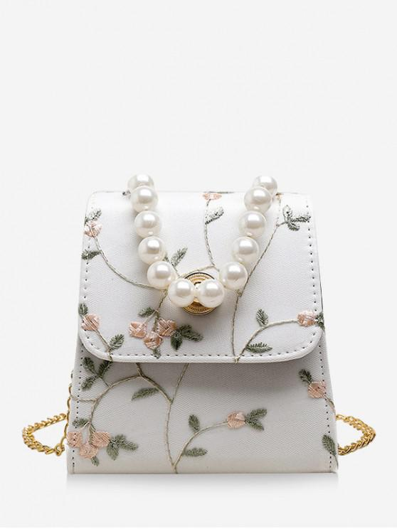 best Faux Pearl Flower Embroidery Crossbody Bag - MILK WHITE
