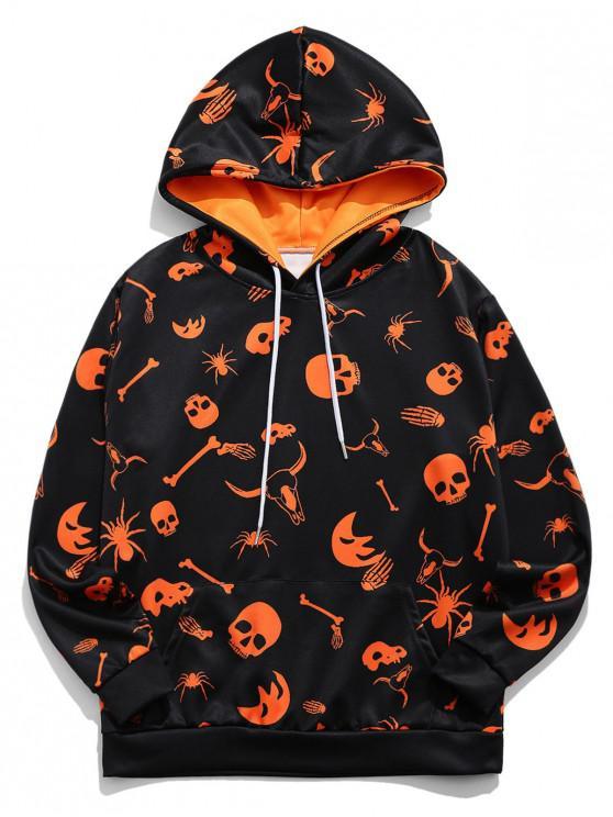 best Halloween Skull Spider Cow Head Print Drawstring Hoodie - PAPAYA ORANGE L