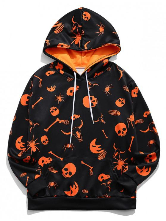 unique Halloween Skull Spider Cow Head Print Drawstring Hoodie - PAPAYA ORANGE S