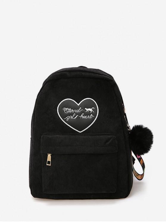 shop Heart Letter Fuzzy Ball Pendant Backpack - BLACK