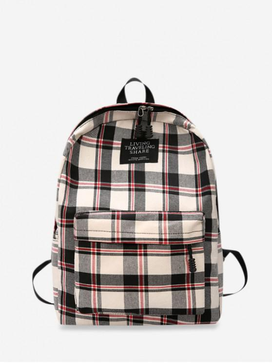trendy Grid Pocket Design Student Chic Backpack - WARM WHITE