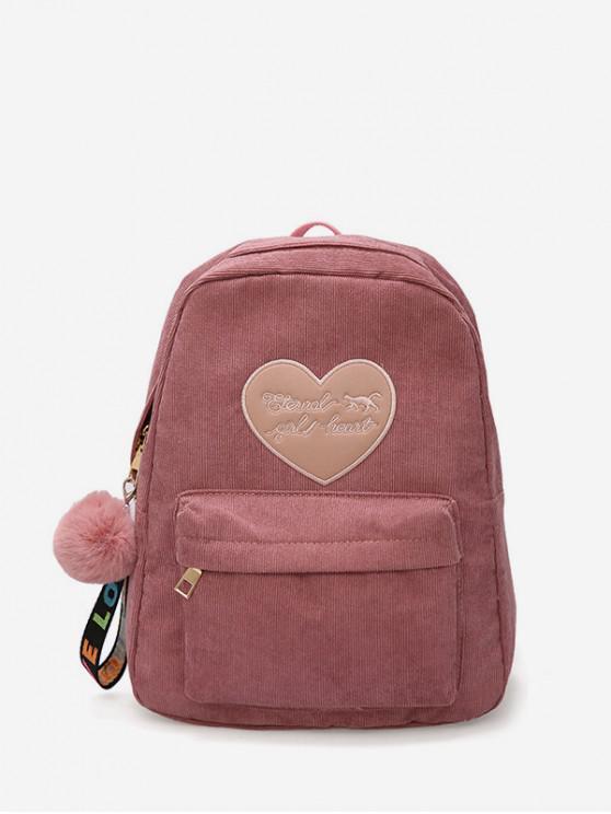 women Heart Letter Fuzzy Ball Pendant Backpack - KHAKI ROSE