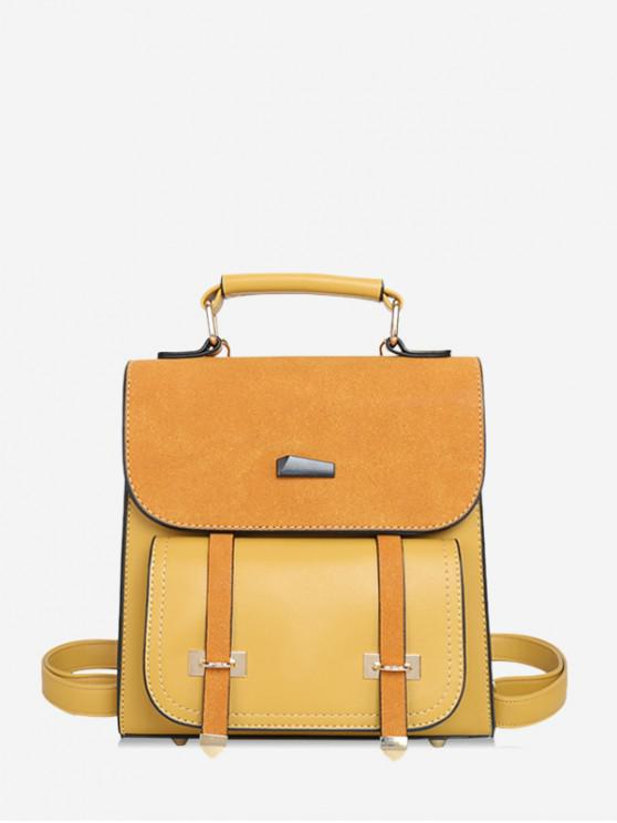 women's Square Suede Shoulder Travel Backpack - BEE YELLOW