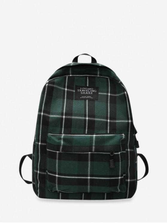 new Grid Pocket Design Student Chic Backpack - DARK GREEN