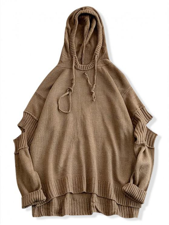 unique High Low Ripped Solid Hooded Sweater - LIGHT BROWN XL