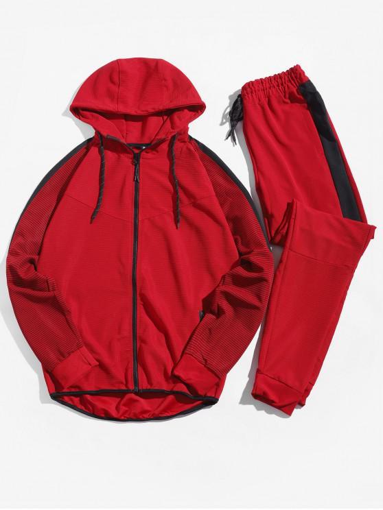Цветной блок Рукав реглан Со шнуровкой Куртка Брюки-джоггер - Красный XS