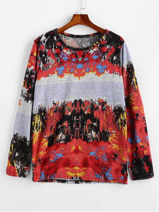 outfits Round Neck Vintage Printed Sweater - RED L