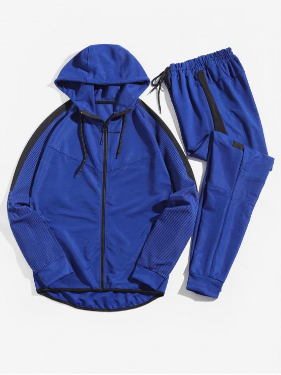 women Colorblock Spliced Stripe Raglan Sleeve Drawstring Jacket and Jogger Pants - BLUE XS