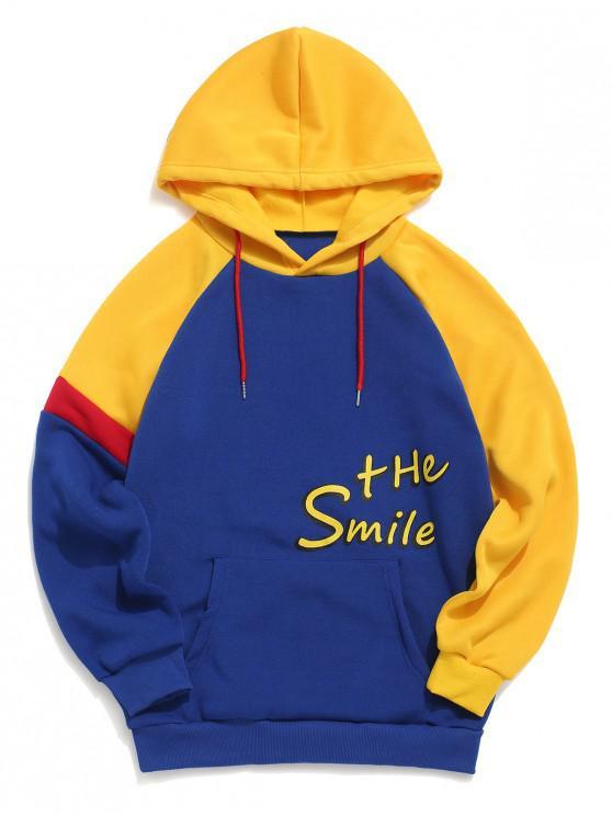 shop Letter Pattern Color Splicing Hoodie - BLUE S