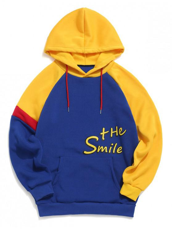 buy Letter Pattern Color Splicing Hoodie - BLUE XL