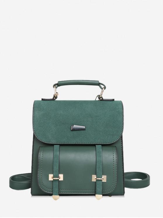 latest Square Suede Shoulder Travel Backpack - MEDIUM SEA GREEN