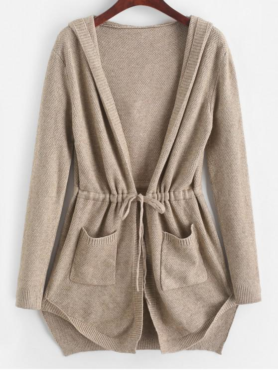 ladies Longline Hooded Drawstring Pockets Cardigan - TAN ONE SIZE