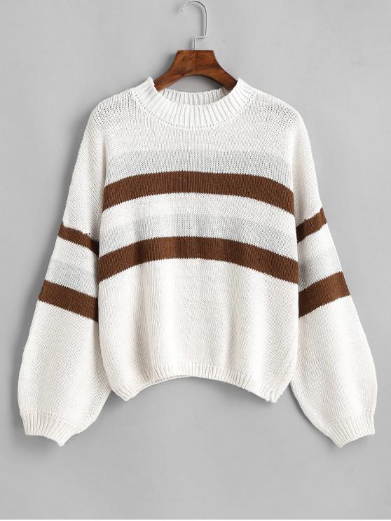 ladies Lantern Sleeve Stripes Pullover Sweater - WHITE ONE SIZE
