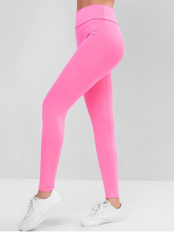 trendy Plain High Waisted Sports Leggings - WATERMELON PINK S
