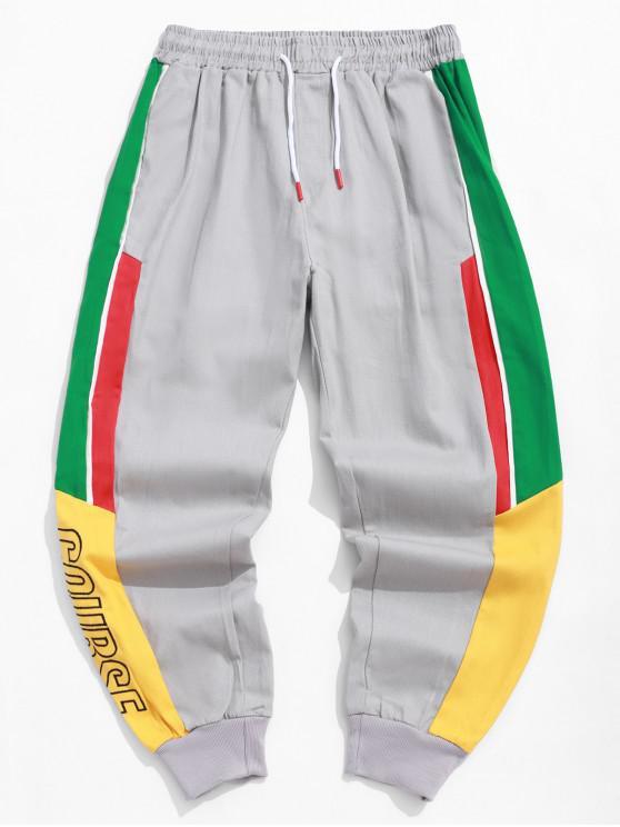 hot Letter Print Colorblock Splicing Pocket Jogger Pants - GRAY 2XL