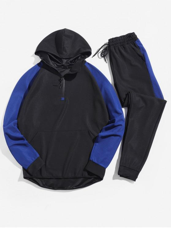 best Colorblock Stripes Raglan Sleeve Pullover Hooded Jacket and Jogger Pants - BLUE XS