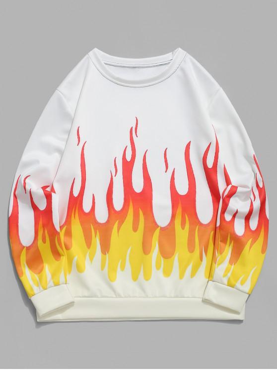 火スポーツ火災グラフィックプリントトレーナー - 白 3XL