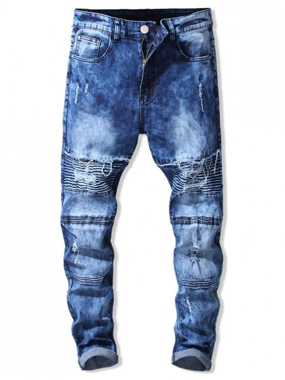 hot Ripped Decorated Zip Fly Casual Jeans - BLUE XL