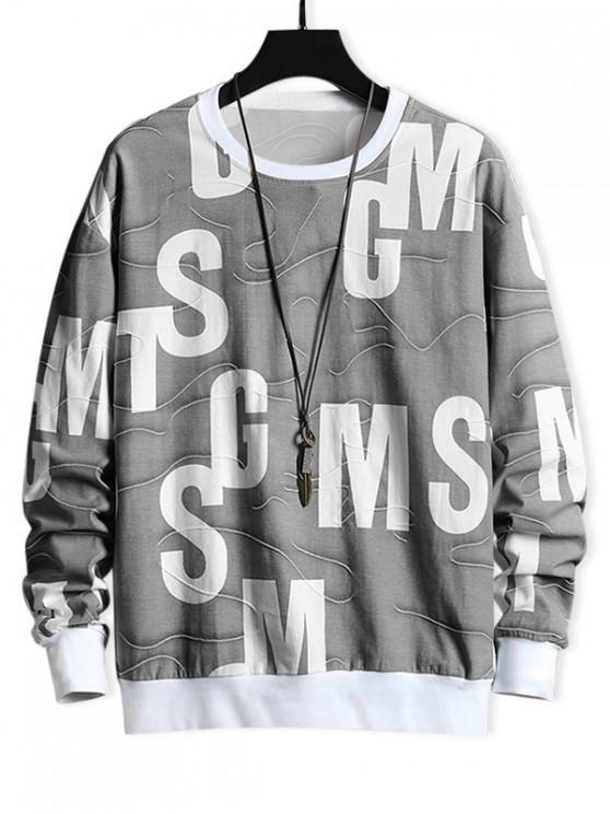 ladies Letter Graphic Contrast Trim Spliced Casual Sweatshirt - PLATINUM S