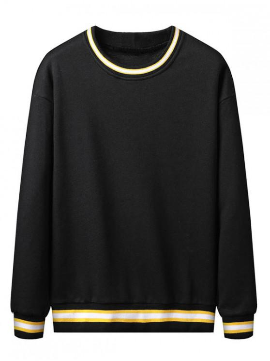 buy Color Spliced Striped Pattern Casual Sweatshirt - BLACK XS