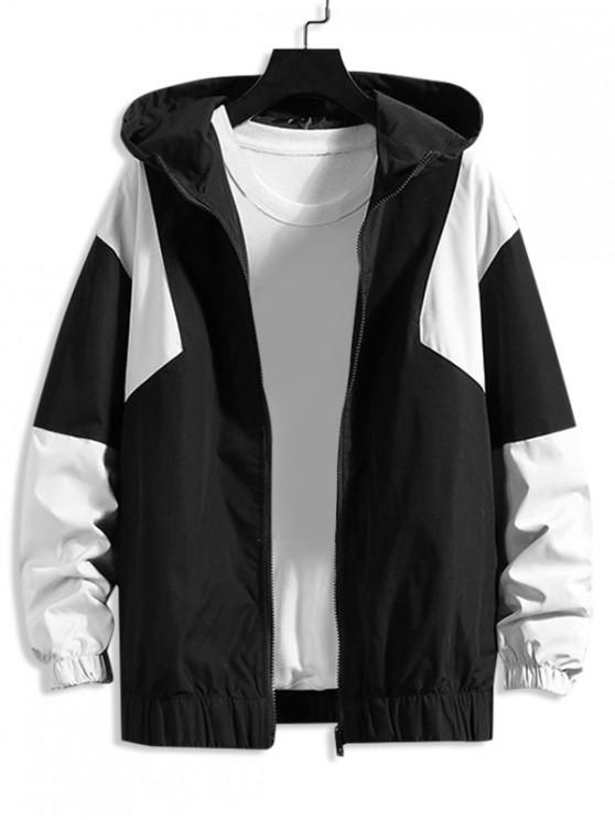 women's Color Blocking Splicing Casual Hooded Jacket - BLACK L