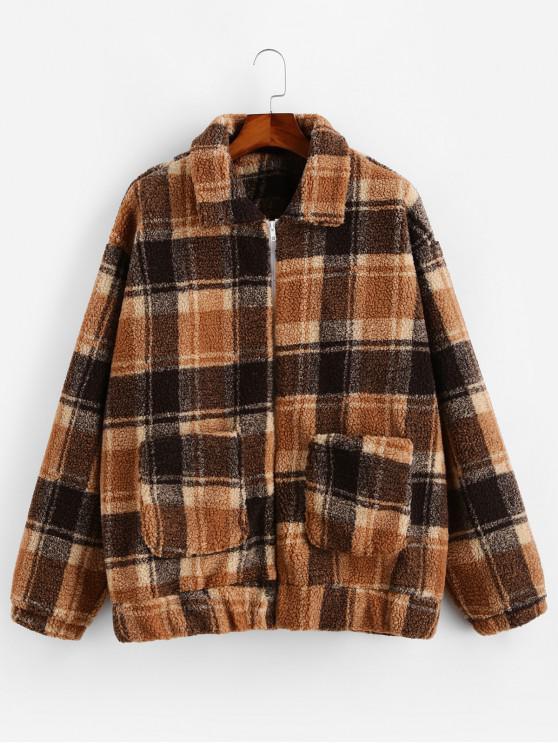 fancy Plaid Pattern Zip Up Fluffy Jacket - COFFEE S