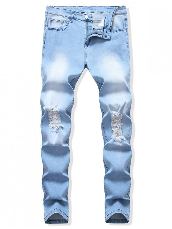unique Destroyed Decoration Light Wash Casual Jeans - DAY SKY BLUE 38