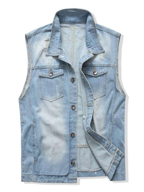fashion Pocket Design Ripped Denim Waistcoat - BLUE L
