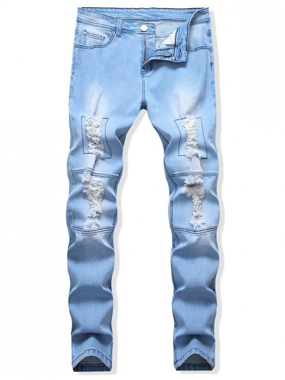 affordable Destroyed Design Zip Fly Tapered Jeans - DENIM BLUE 36