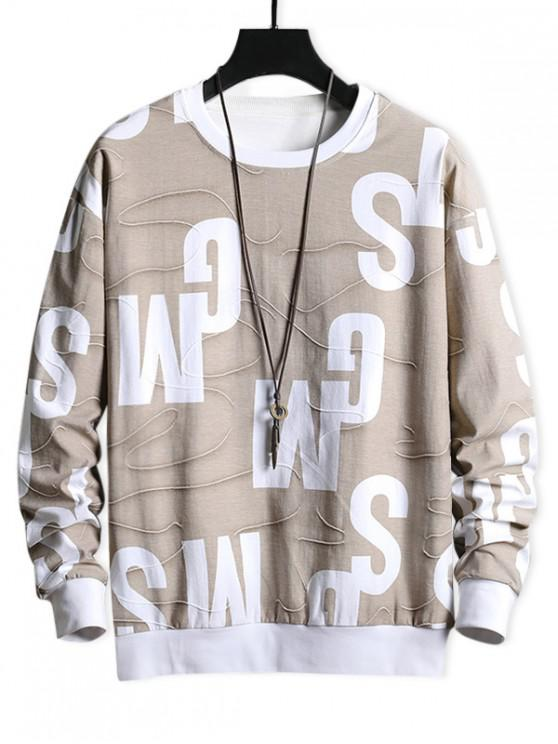 sale Letter Graphic Contrast Trim Spliced Casual Sweatshirt - APRICOT S