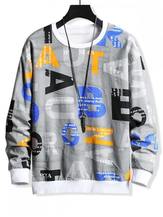 latest Letter Graphic Print Colorblock Splicing Sweatshirt - PLATINUM S